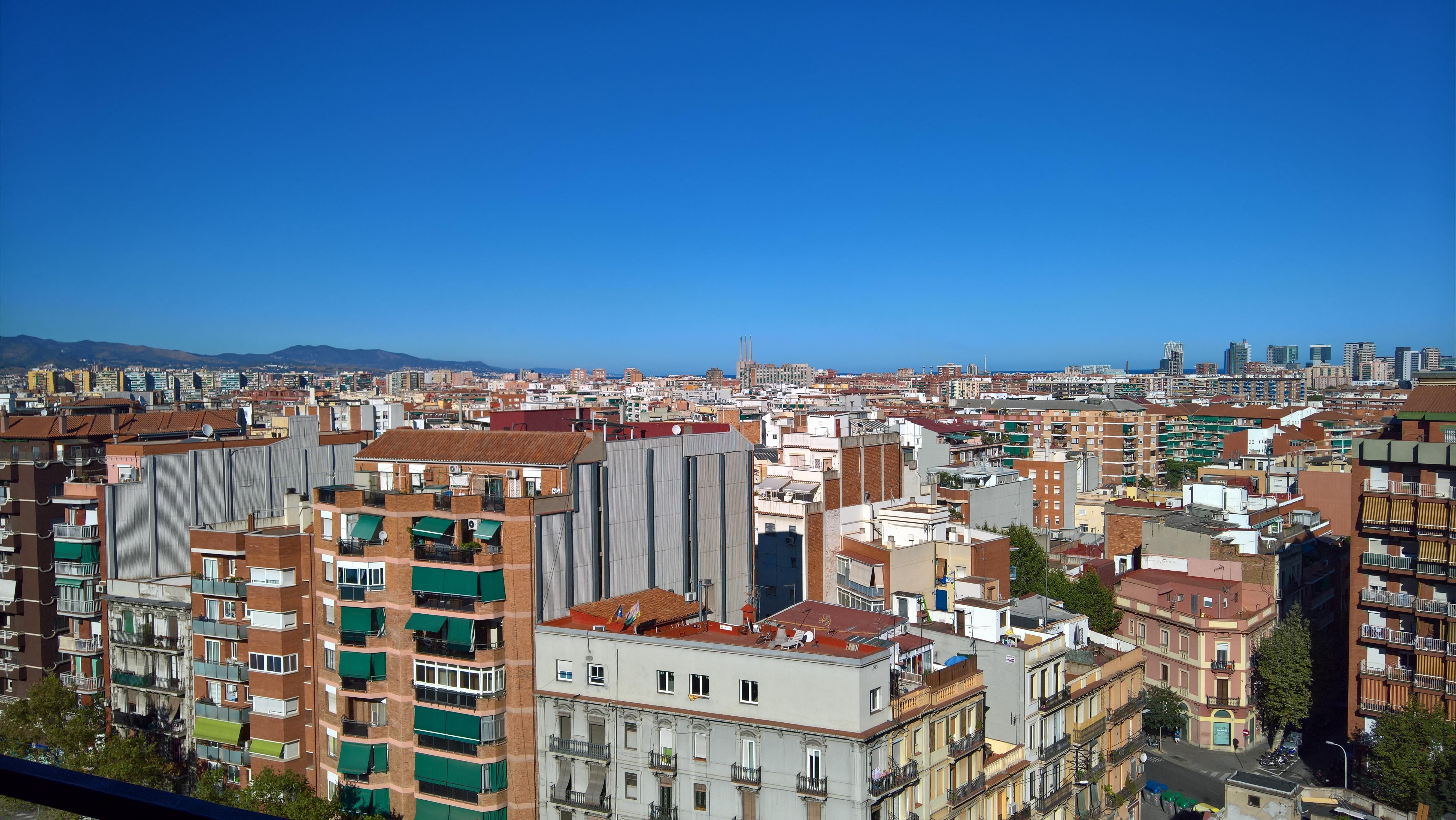 Blick aus dem Hotel auf Barcelona
